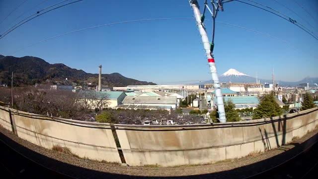 train ride near mt. fuji - wide shot stock-videos und b-roll-filmmaterial