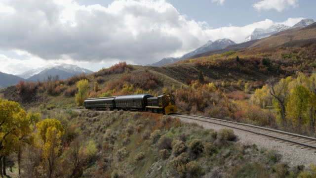 train rolling through scenic landscape - provo stock videos and b-roll footage