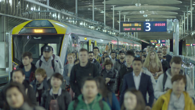 train station and commuters - mode of transport stock videos & royalty-free footage
