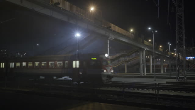 Train station at foggy night