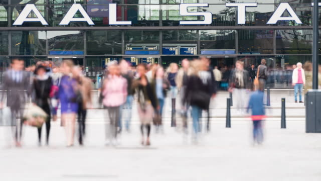 time lapse: train station commuters in rotterdam - station stock videos & royalty-free footage