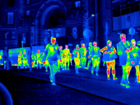 train station entrance, t/l thermogram.. - thermal imaging stock videos & royalty-free footage