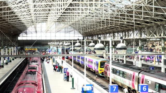 train station in manchester, england uk - manchester england stock videos and b-roll footage