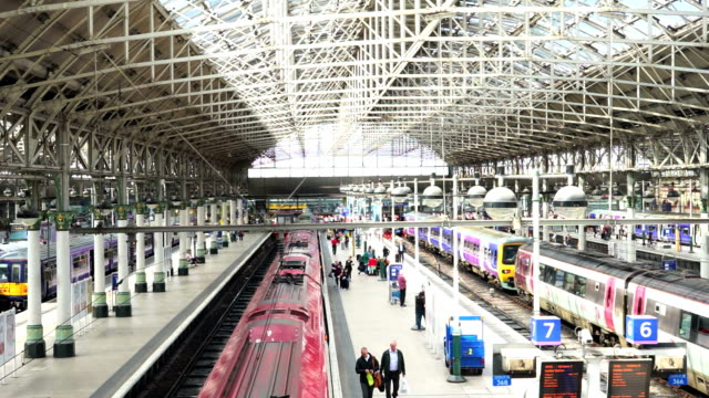 train station in manchester, england uk - manchester england stock videos & royalty-free footage