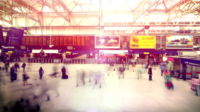 train station rush hour time lapse. hd - physical pressure stock videos and b-roll footage