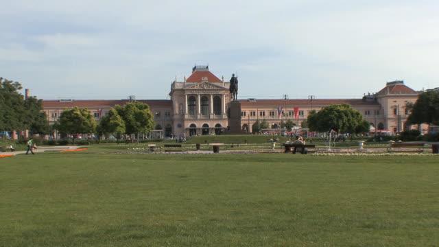 ws train station seen from zrinjevac park / zagreb, croatia  - zagreb stock videos and b-roll footage