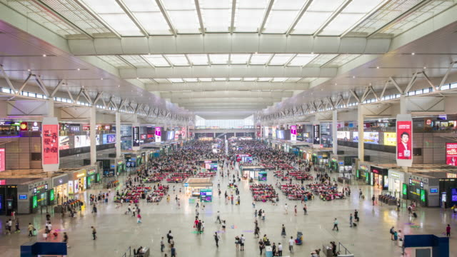 train station shanghai,time lapse - railway station stock videos & royalty-free footage