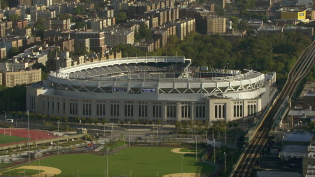 Train tracks pass a stadium in New York City.