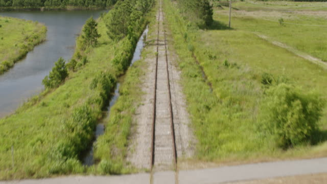 WS TU AERIAL POV Train tracks passing through forest area / Myrtle Beach, South Carolina, United States
