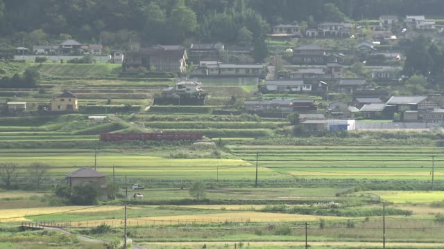 train traveling in yufu city, oita, japan - oita city stock videos & royalty-free footage