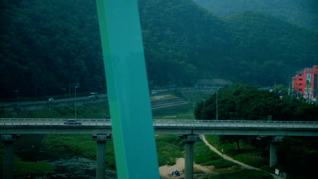 train traveling south korea , view window train , the landscape flowing. the beautiful view amazed and interested in new places and the adventures that await on that journey. concept of transportation, communication, travel. - south korea stock videos & royalty-free footage