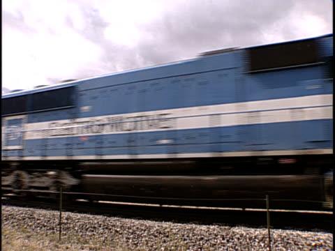 ms, train traveling through flat plains, pueblo, colorado, usa - pueblo colorado stock videos & royalty-free footage