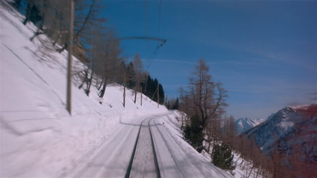 POV, Train traveling through mountain landscape, Swiss Alps, Switzerland