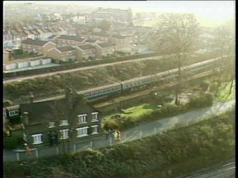 train travelling along track pan right to site of rail crash clapham rail disaster 12 dec 88 - train crash stock videos and b-roll footage