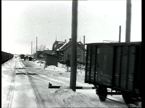 1913 montage b/w train pov travelling on the trans siberian railway/ russia - 1913 stock-videos und b-roll-filmmaterial