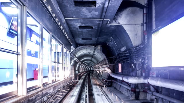 T/L WS POV Train Travelling Through the Tunnel / Guangzhou, China