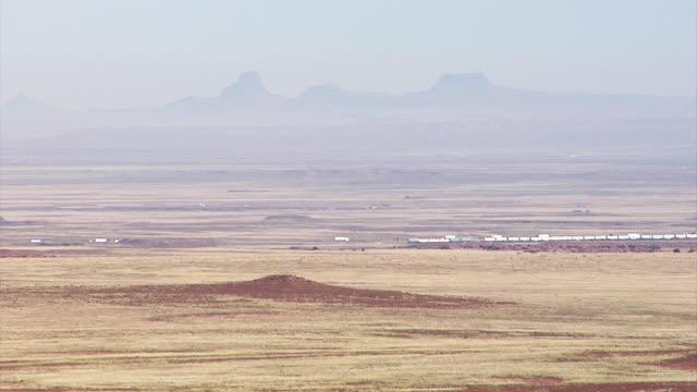 Train travels through desert