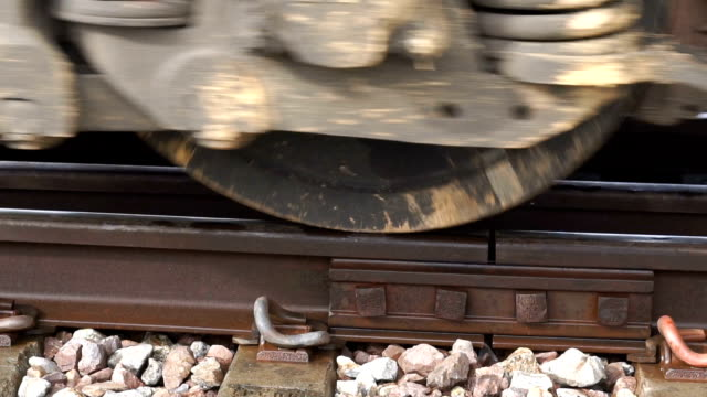 CU of train wheels moving along track on railway