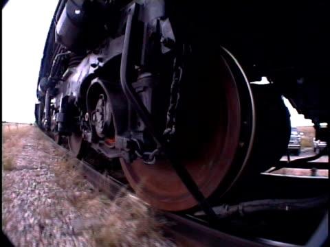 cu, ts, fish eye, train wheels moving along tracks, pueblo, colorado, usa - pueblo colorado stock videos & royalty-free footage