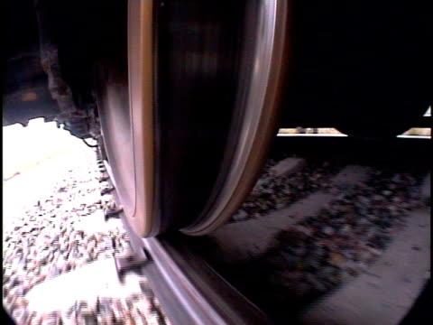 ecu, ts, fish eye, train wheels moving along tracks, pueblo, colorado, usa - pueblo colorado stock videos & royalty-free footage