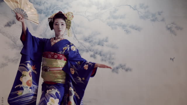 trainee geiko dance using fans - cultures stock videos & royalty-free footage