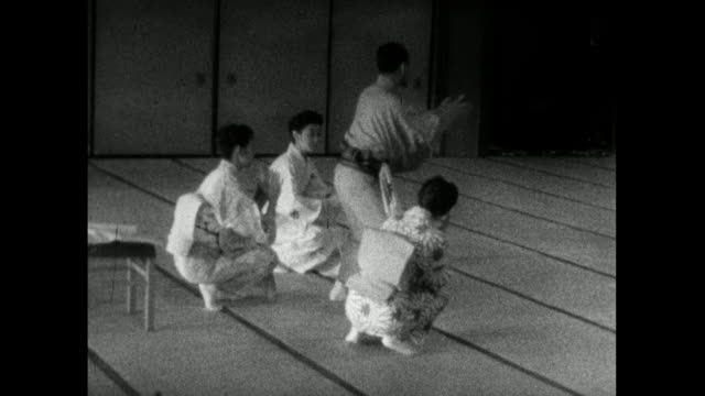ws trainee geisha learning to dance in geisha school; 1959 - dance studio stock videos & royalty-free footage