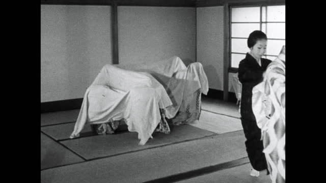 trainee geisha women (maiko) rehearse traditional dance; 1964 - bedclothes stock videos & royalty-free footage