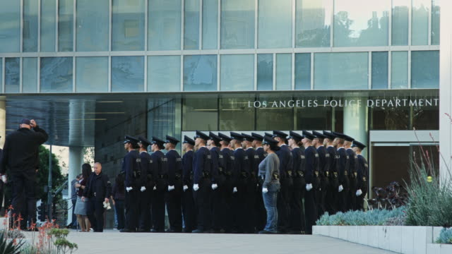 lapd trainees in formation - los angeles police department stock-videos und b-roll-filmmaterial