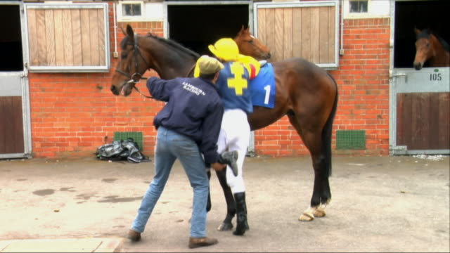 ws pan trainer helping jockey onto horse outside stable / newbury, england, uk - see other clips from this shoot 1045 stock videos and b-roll footage