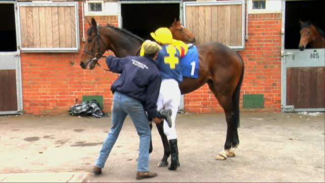 ws pan trainer helping jockey onto horse outside stable / newbury, england, uk - newbury england stock videos & royalty-free footage