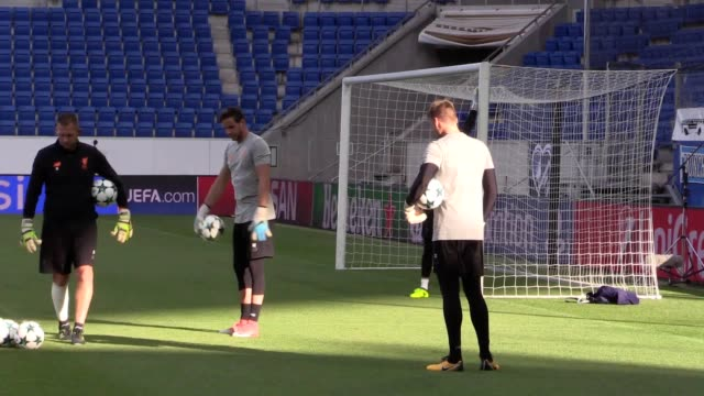 Training footage of the Liverpool squad ahead of the Champions League playoff match with Hoffenheim