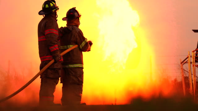 training for firefighting drill - fire protection suit stock videos & royalty-free footage
