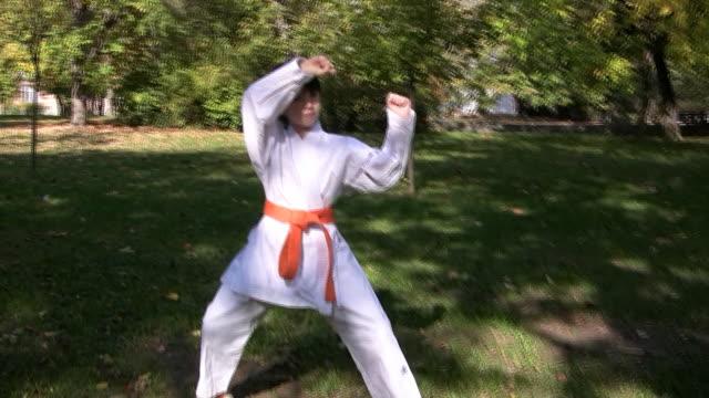 vídeos de stock, filmes e b-roll de hd: treinamento do parque - karate