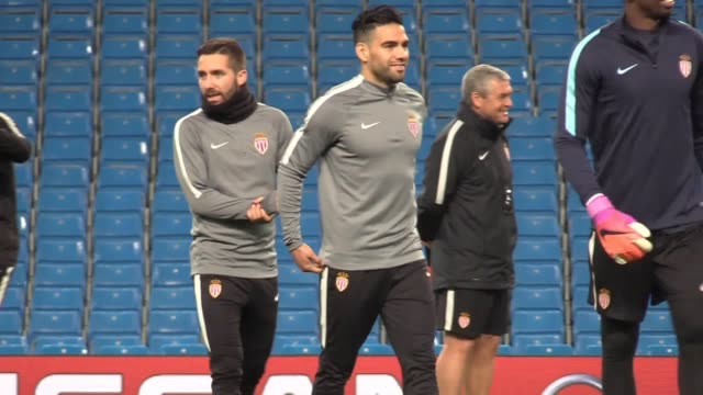 Training shots of the Monaco team who will face Manchester City in the Champions League Round of 16 firstleg match on February 21