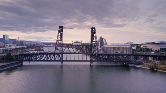 Trains and Traffic Crossing Willamette River