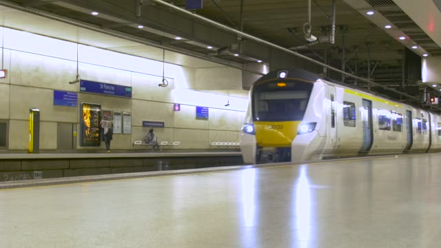 Trains arriving at and departing from  St Pancras Thameslink station