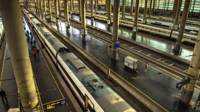 T/L of Trains at Madrid Atocha Railway Station
