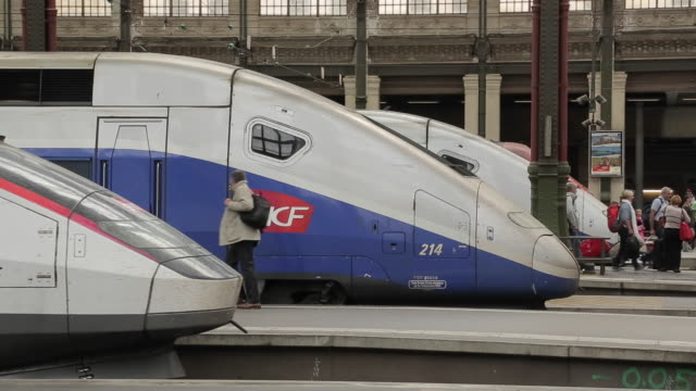 sncf trains, gare de lyon, paris, france, europe - bahnhof stock-videos und b-roll-filmmaterial