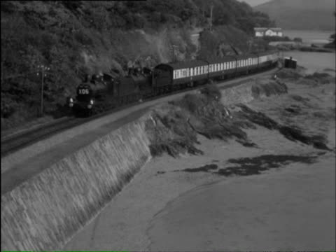 WS Trains going though rural areas and stations, crowds watching / Barmouth, Gwynedd, Wales