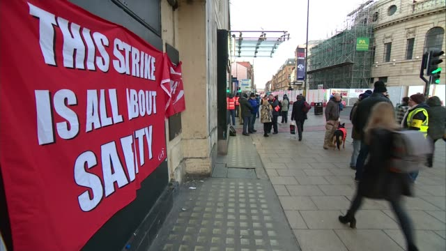 More disruption for commuters with strike action over rail safety ENGLAND West Yorkshire Leeds Leeds Train Station EXT Various of RMT pickets and...