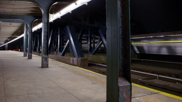 TL WS F & G trains moving in and out of subway station/ Brooklyn, New York