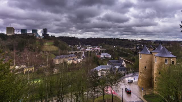 trains over luxembourg city - time lapse - luxembourg benelux stock videos & royalty-free footage