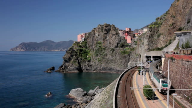 Trains passing Manarola railway station