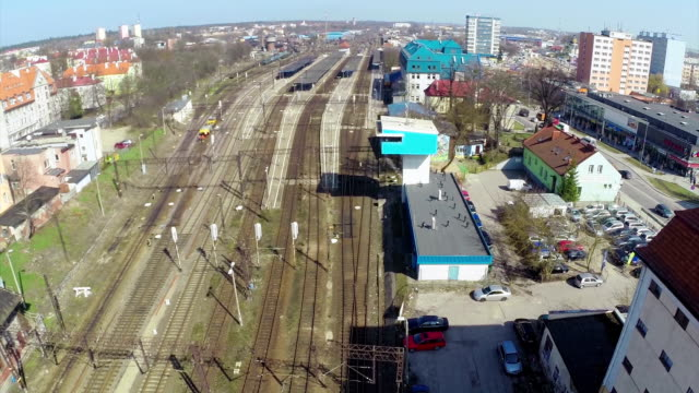 trainstation aerial shot - general view stock videos & royalty-free footage
