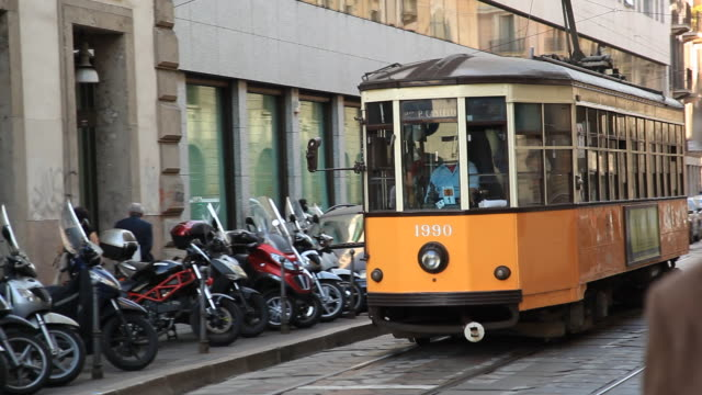 CU Tram going through streets of Milano/ Italy