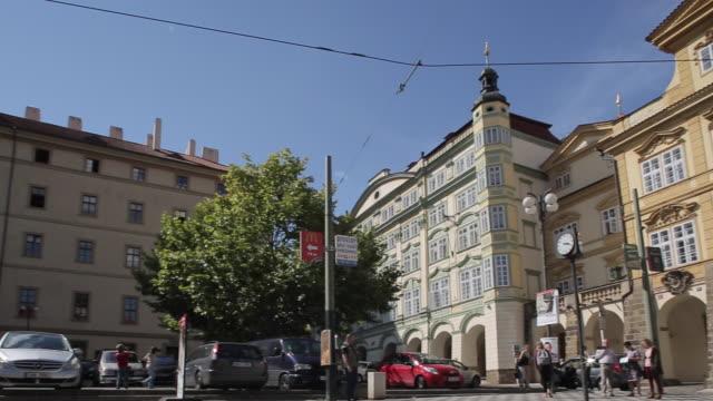tram in castle district, prague, czech republic, europe - 路面軌道点の映像素材/bロール