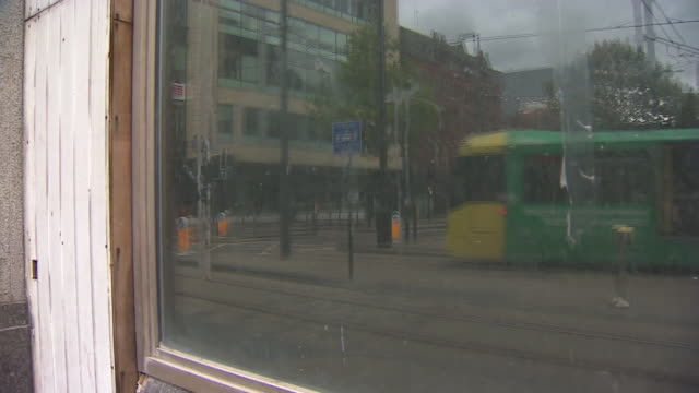 a tram in manchester - tram stock videos & royalty-free footage