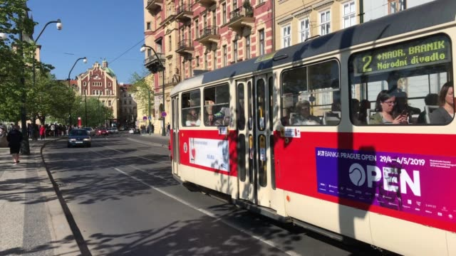 tram in prague old town - prague stock videos & royalty-free footage