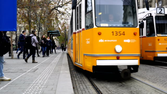 tram moves along danube river in budapest, - cultura ungherese video stock e b–roll