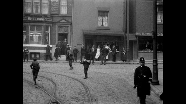 1905 a tram moves through the streets of rochdale - edwardian style stock videos & royalty-free footage